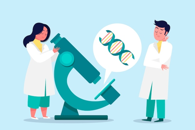 Scientists working together Free Vector