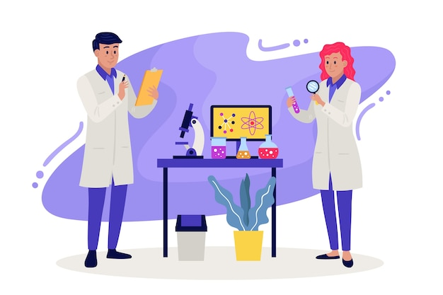 Scientists working Free Vector