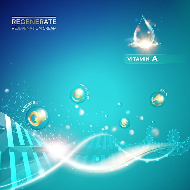 Scince illustration of a dna molecule. Free Vector