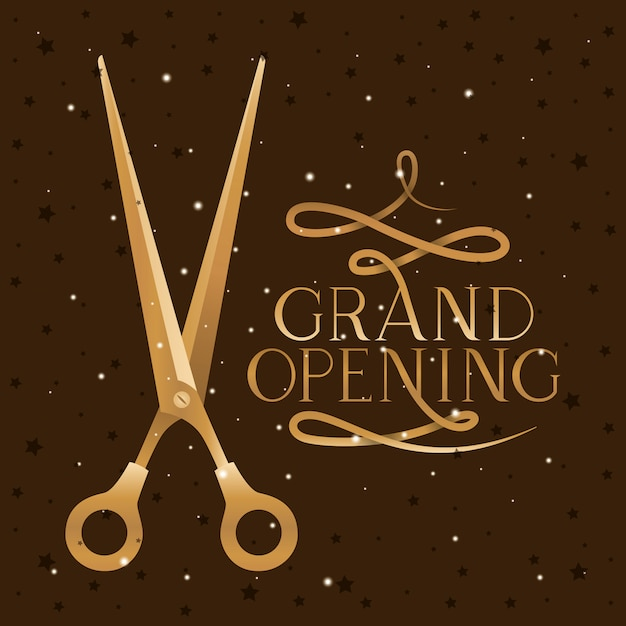 Scissor and grand opening Free Vector