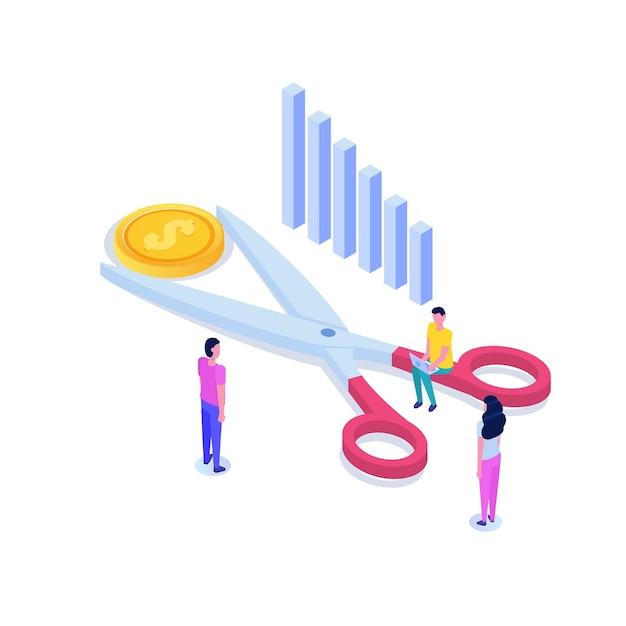 1ドル硬貨の等尺性の概念を切るはさみ。セール、割引のシンボル。コスト削減または値下げ。 Premiumベクター