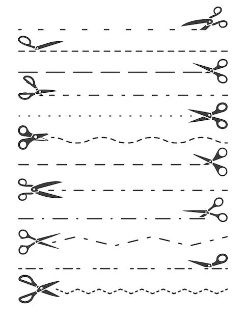 Ножницы режущие линии иллюстрации Premium векторы
