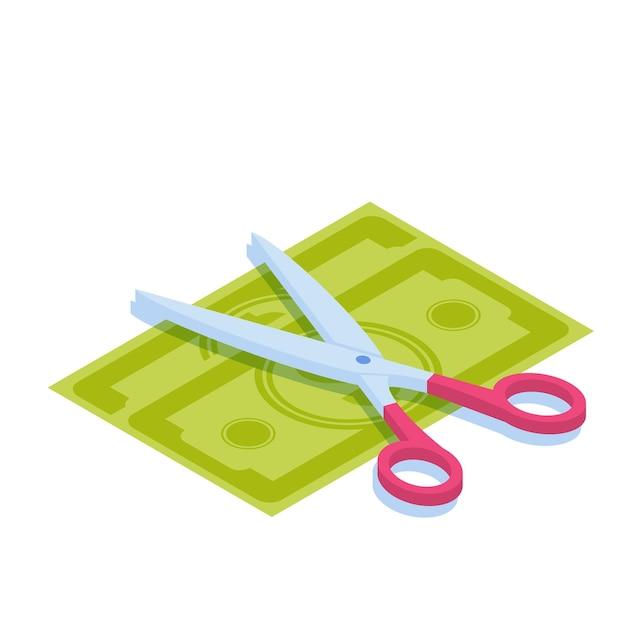 お金を切るはさみ。お金を分割し、利益を分配し、または販売コンセプト割引のシンボル。 Premiumベクター