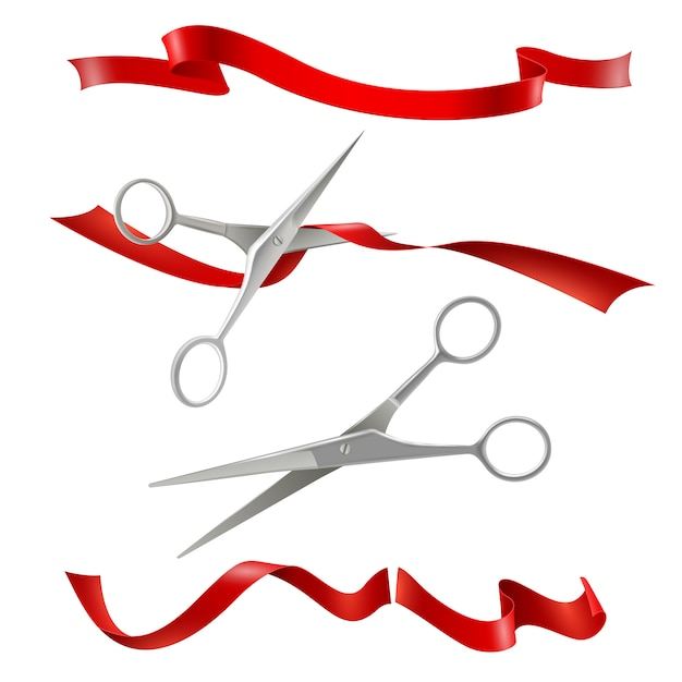 Scissors cutting red ribbon realistic set Free Vector