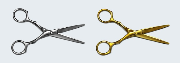 オープンブレード上面図の銀と金の金属のはさみ 無料ベクター