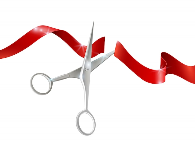Scissors and ribbon realistic illustration Free Vector