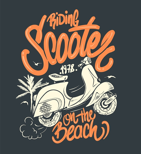 Scooter on the beach illustration Premium Vector
