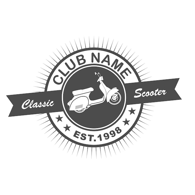 scooter club retro logo template vector premium download