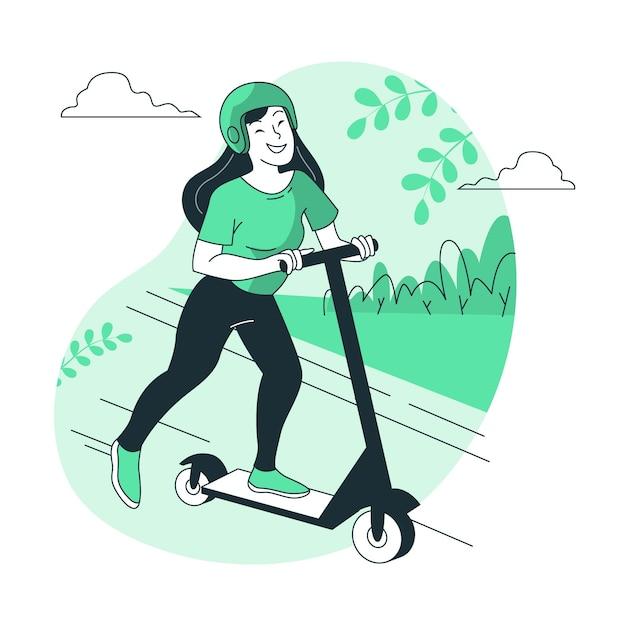 Иллюстрация концепции скутера Бесплатные векторы