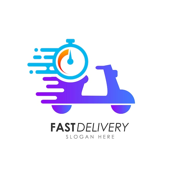 Scooter fast delivery logo design. courier logo design template Premium Vector