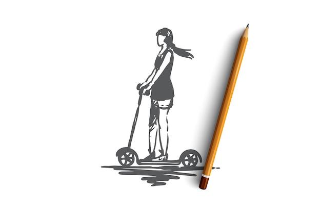 スクーター、女の子、乗り物、自転車、ドライブのコンセプト。スクーターの概念スケッチで運転している手描きの女性。図。 Premiumベクター