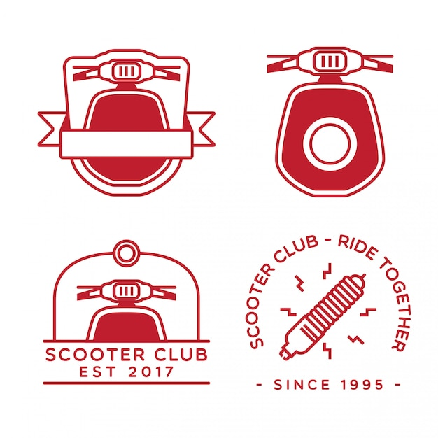 Scooter logo design set Premium Vector
