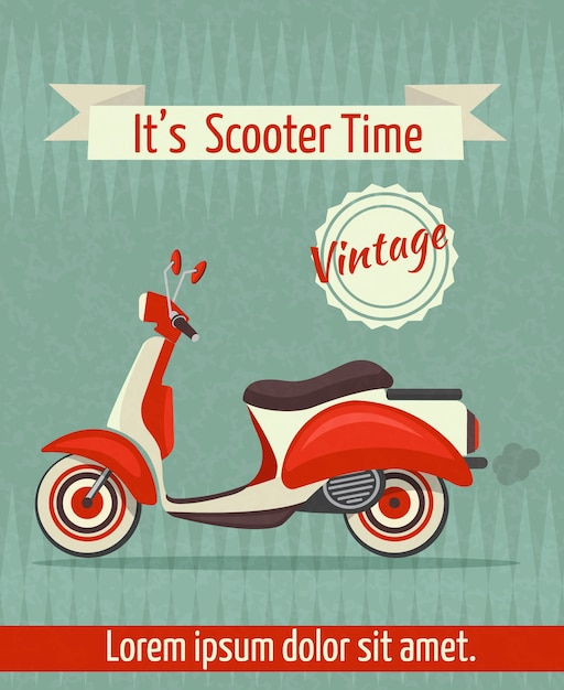 Scooter motorbike retro vintage transport sport\ paper poster with ribbon vector illustration