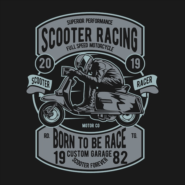 Scooter racer badge Premium Vector