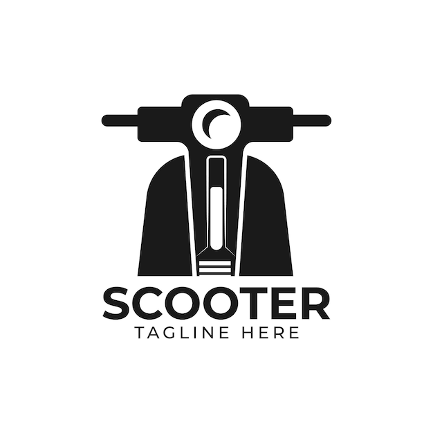 Scooter rental. classic scooter emblem. vector illustration of vintage scooter on white background. transportation logo. vector illustration Premium Vector