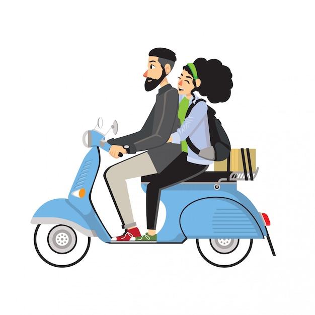 Scooter riding couple Premium Vector