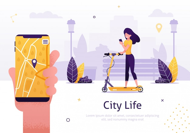 Scooter sharing and rent service for mobile app Vector | Premium