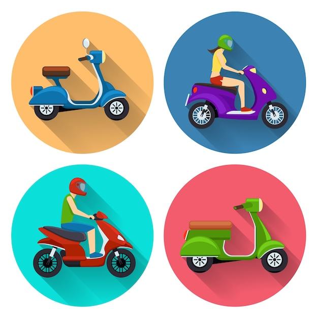 Scooter transport set. moped illustration, motorcycle side view, bike transportation, motorbike with driver Free Vector