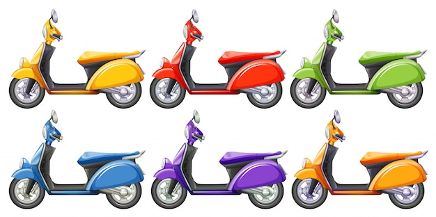 Scooters in six different colors illustration Free Vector