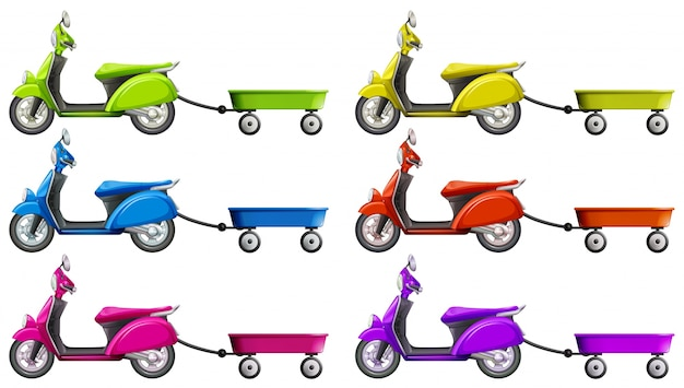 Scooters and wagon in different colors illustration Free Vector