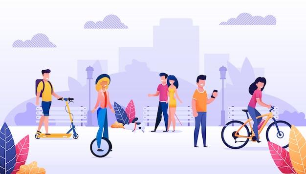 Мультяшный люди городские жители тратить время на открытом воздухе иллюстрации. счастливое летнее время, отдых в общественном парке. вектор мужские и женские персонажи велоспорт, scooting, ходьба. здоровый образ жизни Premium векторы