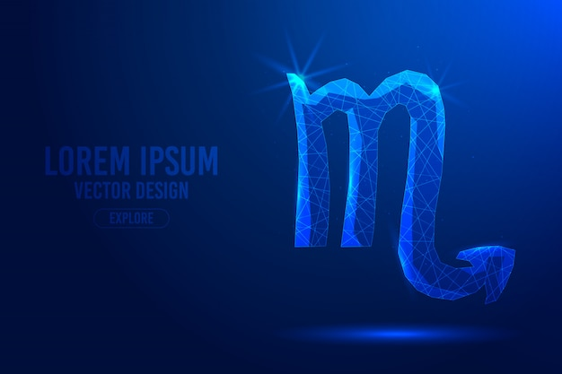 Scorpio is the eighth zodiac sign against abstract background. linear and polygonal 3d concept of horoscope, celestial constellation. Premium Vector