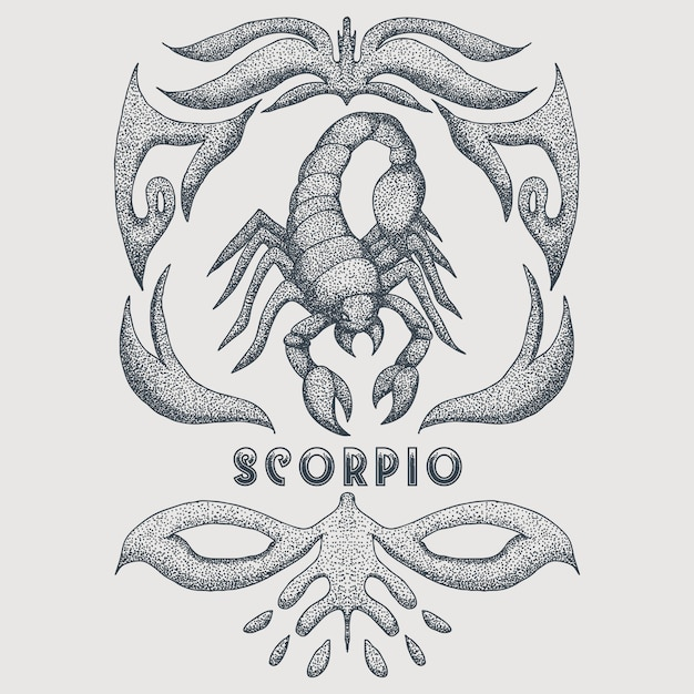 Scorpio zodiac vintage Premium Vector