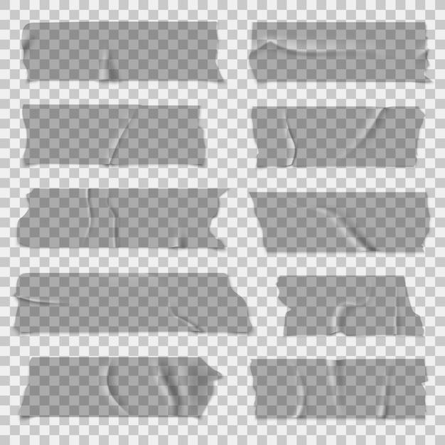 스카치 테이프. 투명 접착 테이프, 끈적 끈적한 조각. 고립 된 세트 프리미엄 벡터