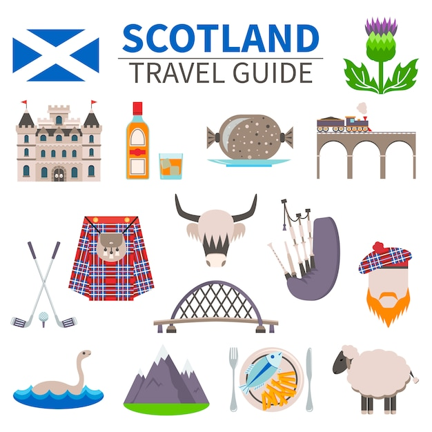 Scotland travel icons set Free Vector