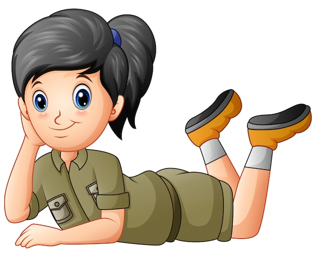 Scout girl cartoon lying on white Premium Vector