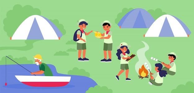 Campo scout in riva al lago Vettore gratuito