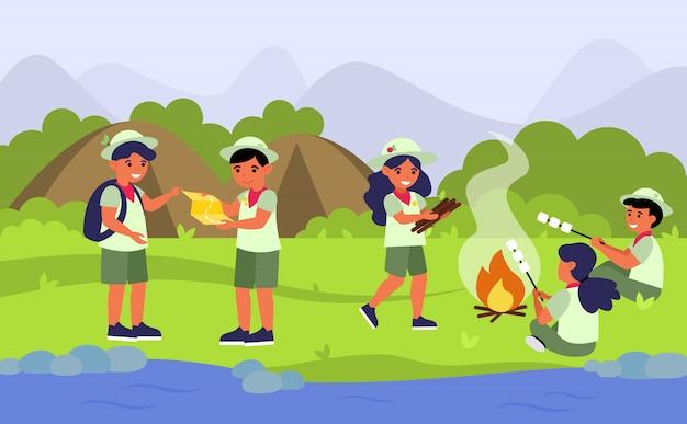 Esploratori nell'illustrazione piana di campeggio di vettore Vettore gratuito