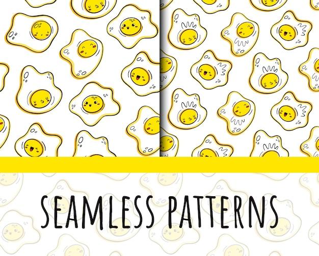 Scrambled eggs pattern Premium Vector