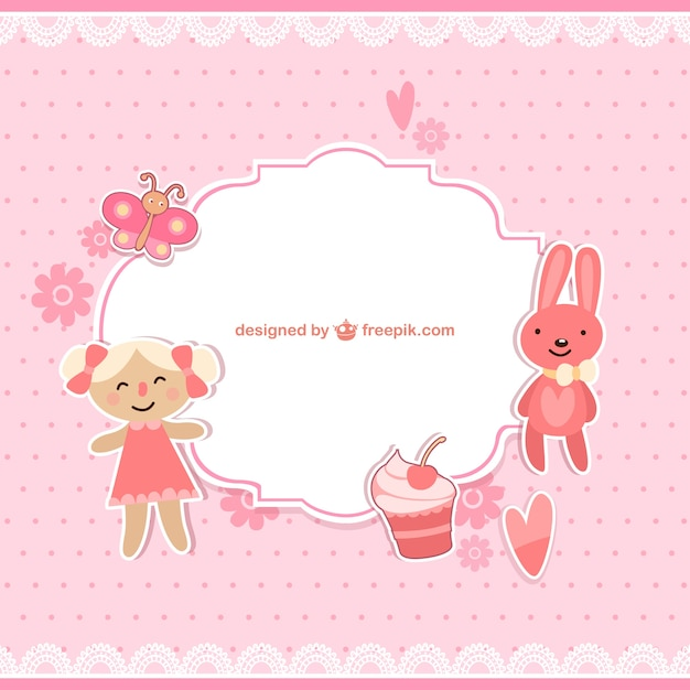 Scrapbook Baby Girl Frame Free Vector