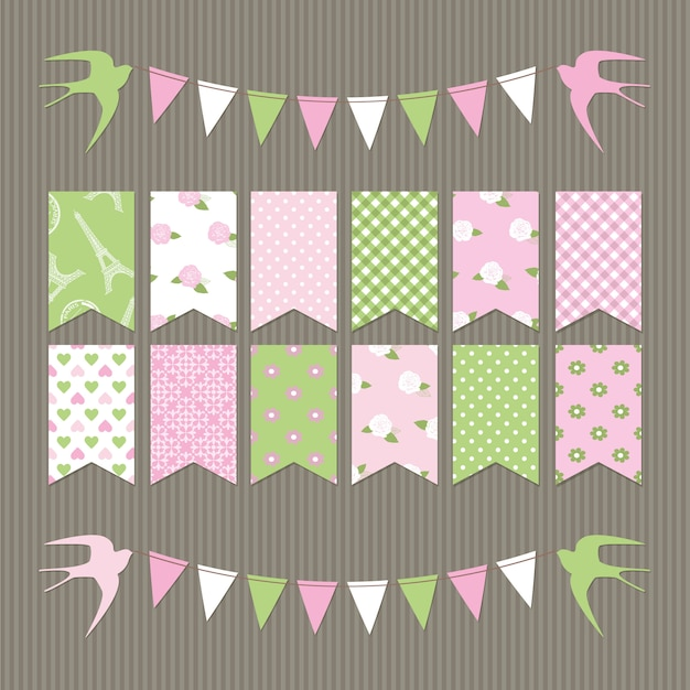 Scrapbook bunting flags. Premium Vector