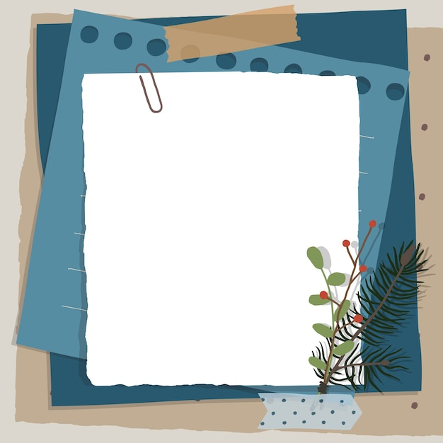 Scrapbook composition with notes paper, tapes, flowers elements and photo frame. Premium Vector