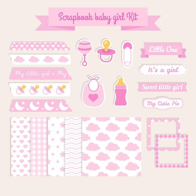 Scrapbook Elements Baby Girl Kit Vector Free Download