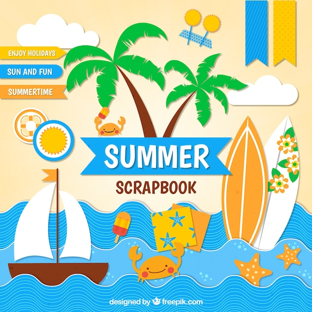 scrapbook for summer themes vector free download