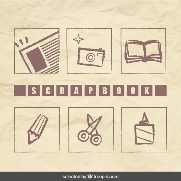 Scrapbook hand drawn elements collection Free Vector
