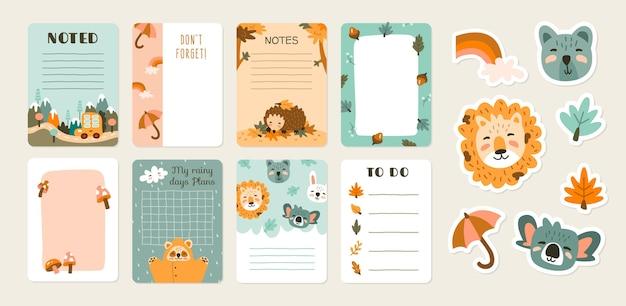 スクラップブックのノートと動物のカード 無料ベクター