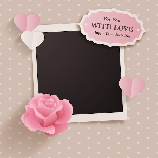 Scrapbook style valentine's day design with polaroid Premium Vector