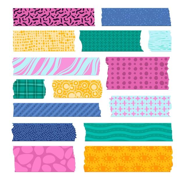 스크랩북 테이프. 색상 무늬 테두리, 장식 접착 테이프. 종이 스카치 스트립, 화려한 직물 태그 인쇄 프리미엄 벡터