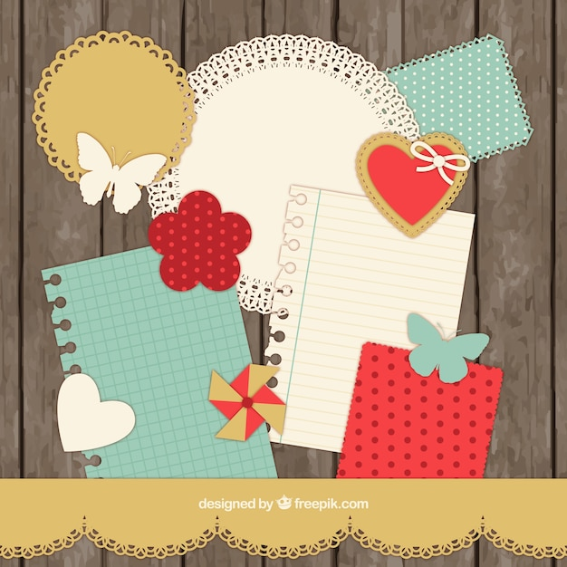 Scrapbooking Collection In Retro Style Vector Free Download