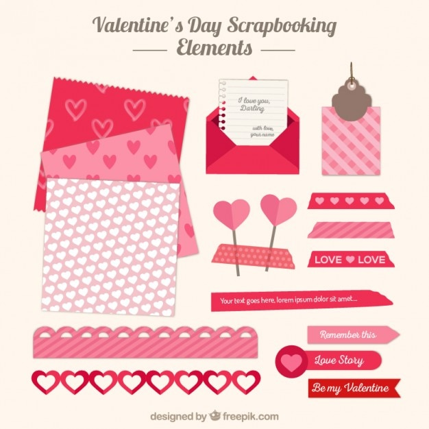 Scrapbooking elements for valentine day Free Vector