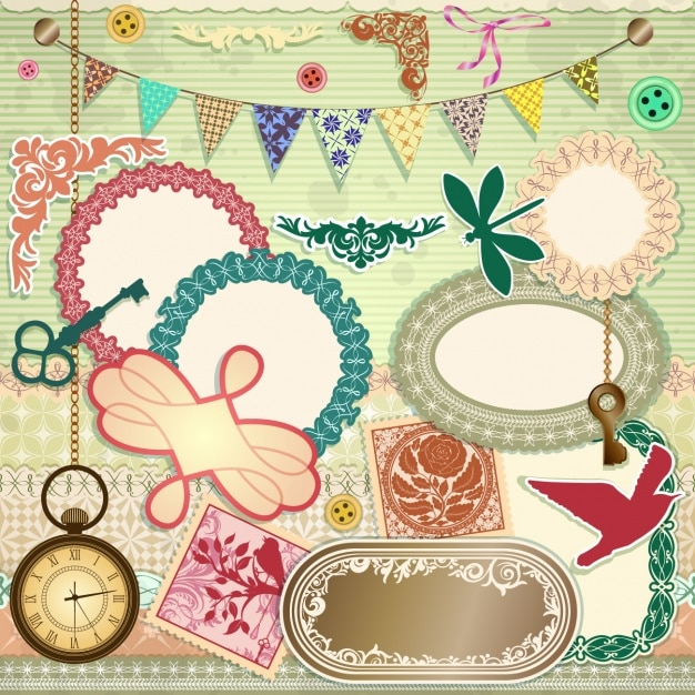 Scrapbooking elements set Free Vector