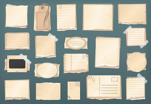 스크랩북 빈티지 종이 세트, 스크랩북 스티커, 오래 된 찢어진 종이 노트 및 복고풍 골동품 레이블, 프레임. 스크랩북 찢어진 종이 조각, 태그, 메모 및 스탬프와 그런 지 골 판지 엽서 프리미엄 벡터