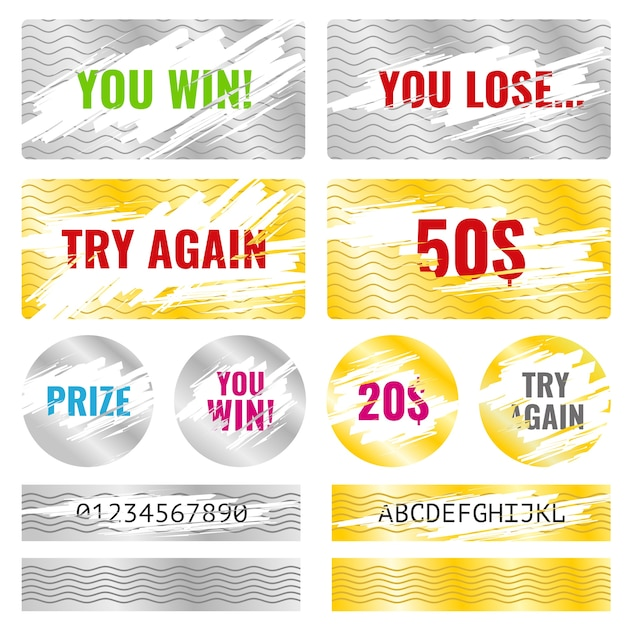 Scratch Card Game Win Lottery Vector Elements Premium Vector