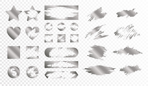 Scratch cards of different shape monochrome set isolated  flat illustration Free Vector