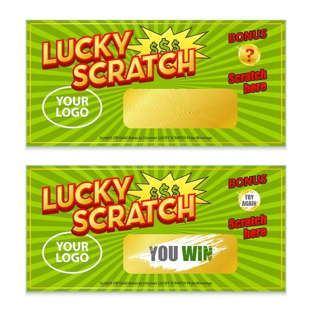 スクラッチ宝くじゲーム勝利カード 無料ベクター