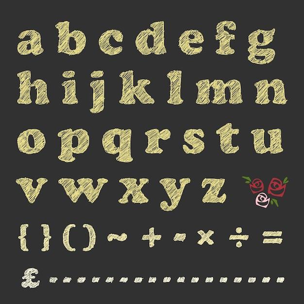 黒板に文字の数学記号とバラのパターンを引っかきます。 Premiumベクター